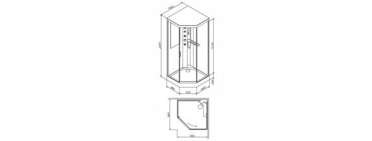 Душова кабіна з гідромасажем Am Pm Gem W90C-018-090WTA