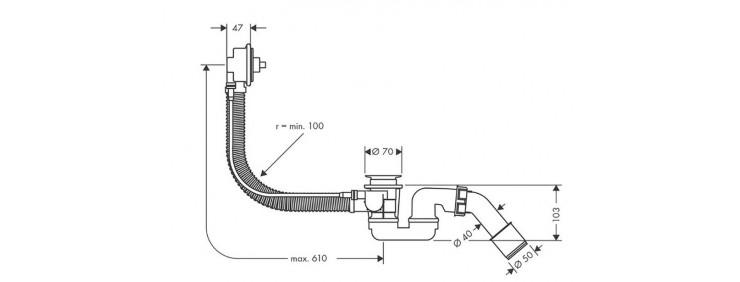 Слив / перелив для ванны Hansgrohe Flexaplus 58140180
