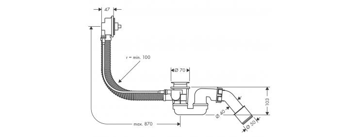 Слив / перелив для ванны Hansgrohe Flexaplus 58141180